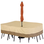 Classic Accessories Veranda Table Cover With Umbrella Hole Med. Rect. Pebble - 55-458-031501-00