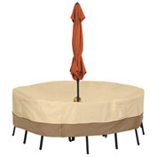 Classic Accessories Veranda Table Cover With Umbrella Hole Med. Round Pebble - 55-461-031501-00
