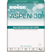 "Boise® ASPEN 0.3 Recycled Office Paper 054901P, 3-Hole, 8-1/2"" x 11"", White, 10 Reams/Carton"