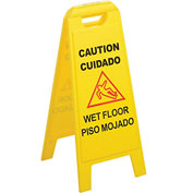 "Wet Floor Sign (English/Spanish) 25"" - Yellow - Pkg Qty 6"