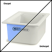 "Carlisle CM1101C1402 Coldmaster® CoolCheck 6"" D Half-Size Food Pan  - White/Blue"