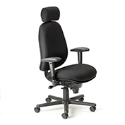 Cortech USA 24/7 HD Management Chair with 1A Arms- Black Staccato Fabric
