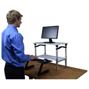 Lift Sit-Stand Desk Conversion, White Lift w/ Black Tray