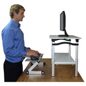 Lift Sit-Stand Desk Conversion, White Lift w/ Silver Tray