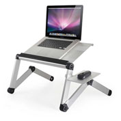 WorkEZ Adjustable Laptop Cooling Stand w/ Fans, 3 USB Ports & Mouse Pad, Silver