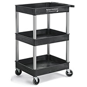 Relius Solutions Tray-Shelf Carts With Nickel Legs - 3 Shelves - Tub Top