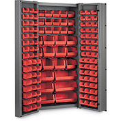 "Bin Cabinet Deep Door with 132 Red Bins, 16 Ga. All-Welded Cabinet 36""W x 24""D x 72""H, Gray"