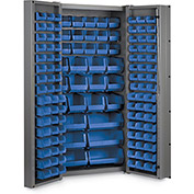 "Bin Cabinet Deep Door with 132 Blue Bins, 16 Ga. All-Welded Cabinet 36""W x 24""D x 72""H, Gray"