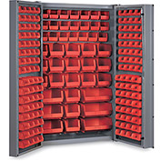 "Bin Cabinet Deep Door with 176 Red Bins, 16 Ga. All-Welded Cabinet 48""W x 24""D x 72""H, Gray"