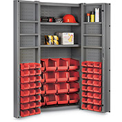 "Bin Cabinet Deep Door with 64 Red Bins, 16 Ga. All-Welded Cabinet 36""W x 24""D x 72""H, Gray"