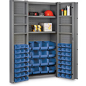 "Bin Cabinet Deep Door with 64 Blue Bins, 16 Ga. All-Welded Cabinet 36""W x 24""D x 72""H, Gray"