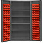 "Bin Cabinet Deep Door with 96 Red Bins, 16 Ga. All-Welded Cabinet 36""W x 24""D x 72""H, Gray"