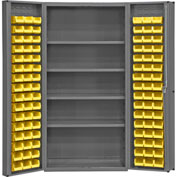 "Bin Cabinet Deep Door with 96 Yellow Bins, 16 Ga. All-Welded Cabinet 36""W x 24""D x 72""H, Gray"