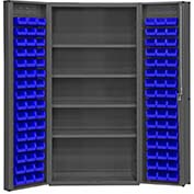 "Bin Cabinet Deep Door with 96 Blue Bins, 16 Ga. All-Welded Cabinet 36""W x 24""D x 72""H, Gray"