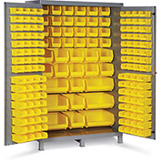 "Bin Cabinet Flush Door with 171 Yellow Bins, 16 Ga. All-Welded Cabinet 48""W x 24""D x 78""H, Gray"