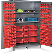 "Bin Cabinet Flush Door with 137 Red Bins, 16 Ga. All-Welded Cabinet 48""W x 24""D x 78""H, Gray"