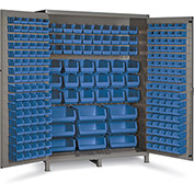 "Bin Cabinet Flush Door with 227 Blue Bins, 16 Ga. All-Welded Cabinet 60""W x 24""D x 84""H, Gray"