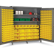 "Bin Cabinet Flush Door with 212 Yellow Bins, 16 Ga. All-Welded Cabinet 72""W x 24""D x 84""H, Gray"