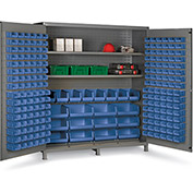 "Bin Cabinet Flush Door with 212 Blue Bins, 16 Ga. All-Welded Cabinet 72""W x 24""D x 84""H, Gray"