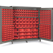 "Bin Cabinet Flush Door with 264 Red Bins, 16 Ga. All-Welded Cabinet 72""W x 24""D x 84""H, Gray"
