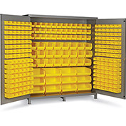 "Bin Cabinet Flush Door with 264 Yellow Bins, 16 Ga. All-Welded Cabinet 72""W x 24""D x 84""H, Gray"