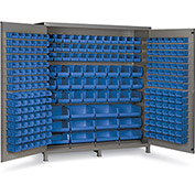 "Bin Cabinet Flush Door with 264 Blue Bins, 16 Ga. All-Welded Cabinet 72""W x 24""D x 84""H, Gray"