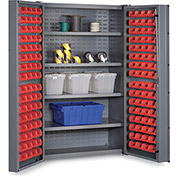 "Bin Cabinet Deep Door with 128 Red Bins, 16 Ga. All-Welded Cabinet 48""W x 24""D x 72""H, Gray"