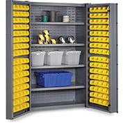 "Bin Cabinet Deep Door with 128 Yellow Bins, 16 Ga. All-Welded Cabinet 48""W x 24""D x 72""H, Gray"