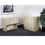 "Safco Steel Flat File With 5 Drawers - 40-1/2X29-1/2X16-1/2"", Pepper Stone"