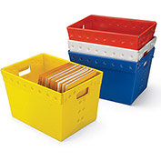 "Relius Solutions Corrugated Plastic Totes - 18-1/2 X13-1/4 X11-3/8"" - White - Pkg Qty 5"