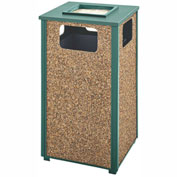 Rubbermaid Steel Stone Panel Trash Receptacle/Sand Urn, 24-Gallon Cap., Grn Frame/Desert Brn Panels