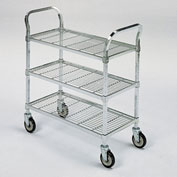 "Square-Post Wire Utility Carts with Rubber Casters -36"" Wx24"" D Shelf - 3 Shelves"