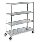 "Square-Post Wire Shelf Trucks with Polyurethane Casters - 60"" Wx24"" D Shelf - 70"" H"