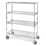 """Square-Post Wire Shelf Trucks with Smart Casters - 72"""" Wx18"""" D Shelf - 70"""" H"""