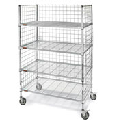 "Square-Post Wire Stock Trucks with Smart Casters - 48"" Wx18"" D Shelf"