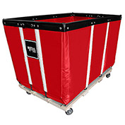 "24 BU-Heavy-Duty Basket Trucks By Royal - Vinyl Liner - 54""Lx34""Dx37.5""H 4 Swivel Casters-Red"