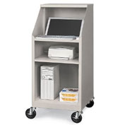 "Relius Solutions Stationary Compact Computer Workstation, 23""W x 23""D x 50""H, Light Gray"