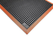 "Wearwell Heavy Duty Drainage Mat - 36 x 116"" - Black with Black/Orange Border"