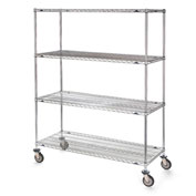 "Metro Stainless Steel Wire Shelf Trucks - 48"" Wx24"" D Shelf"