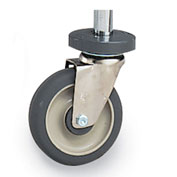 "Metro 5"" Casters for Open-Wire Shelving - Resilient Rubber - Swivel with Brake & Bumper"