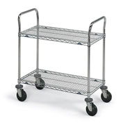 "Metro Stainless Steel Wire Utility Carts - 72"" Wx24"" D Shelf"