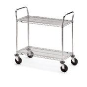 "Metro Two-Shelf Wire Carts - 42"" Wx24"" D Shelf"