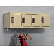 Edsal Flush-Front Silent 4-Person Lockers - 11X18X12 4 Openings - Unassembled - Tan