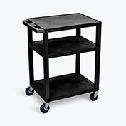 "Luxor Tuffy Utility Carts - 24""Wx18""D Shelf - 34""H Black"