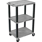 "Luxor Tuffy Utility Carts - 24""Wx18""D Shelf - 42""H Gray"