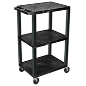 "Luxor Tuffy Utility Carts - 24""Wx18""D Shelf - 42""H Black"