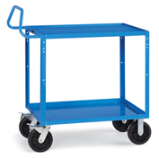 "Relius Elite Premium Multi-Use Cart Ergonomic Handle 48-1/4"" Wx24-1/4"" D Shelves 8"" Blk Casters Blue"