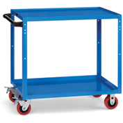 "Relius Elite All-Welded Utility Cart - 36-1/4"" Wx18-1/4"" D Shelves - 5"" Polyurethane Casters - Blue"