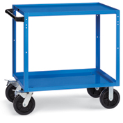 "Relius Elite All-Welded Utility Cart 36-1/4""W x 18-1/4""D Shelves 8""Black Mold-On Rubber Casters Blue"