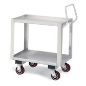 "Relius Elite Stainless Steel Trucks - 48"" Wx24"" D Shelf - 2 Shelves - 5"" Polyurethane casters"